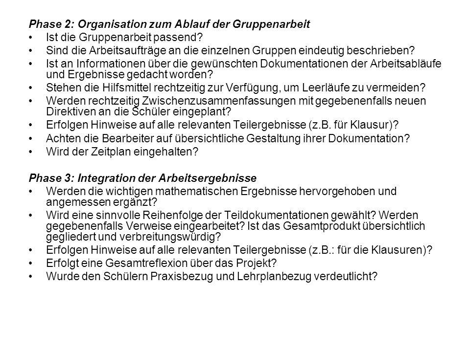 Phase 2: Organisation zum Ablauf der Gruppenarbeit
