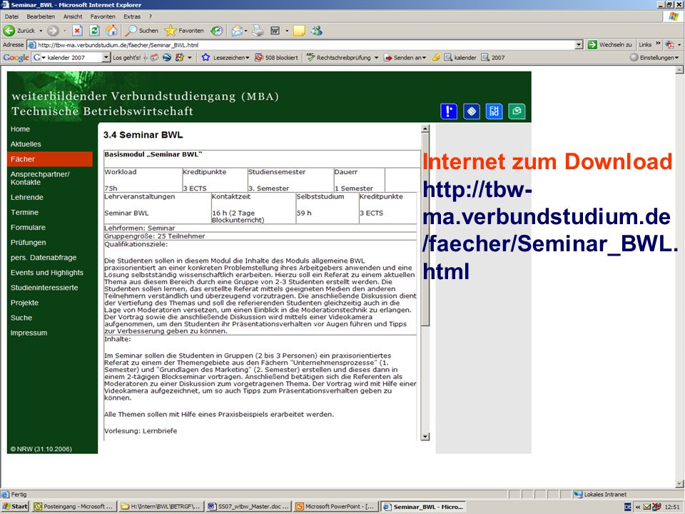 Internet zum Download http://tbw-ma. verbundstudium