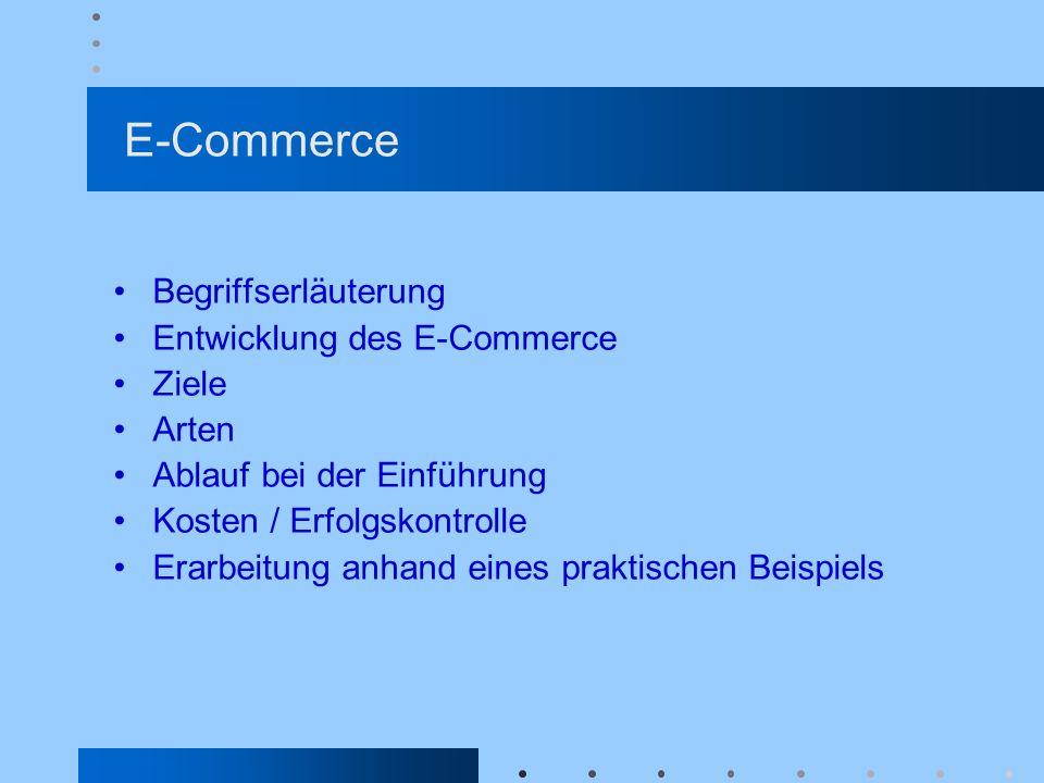 E-Commerce Begriffserläuterung Entwicklung des E-Commerce Ziele Arten