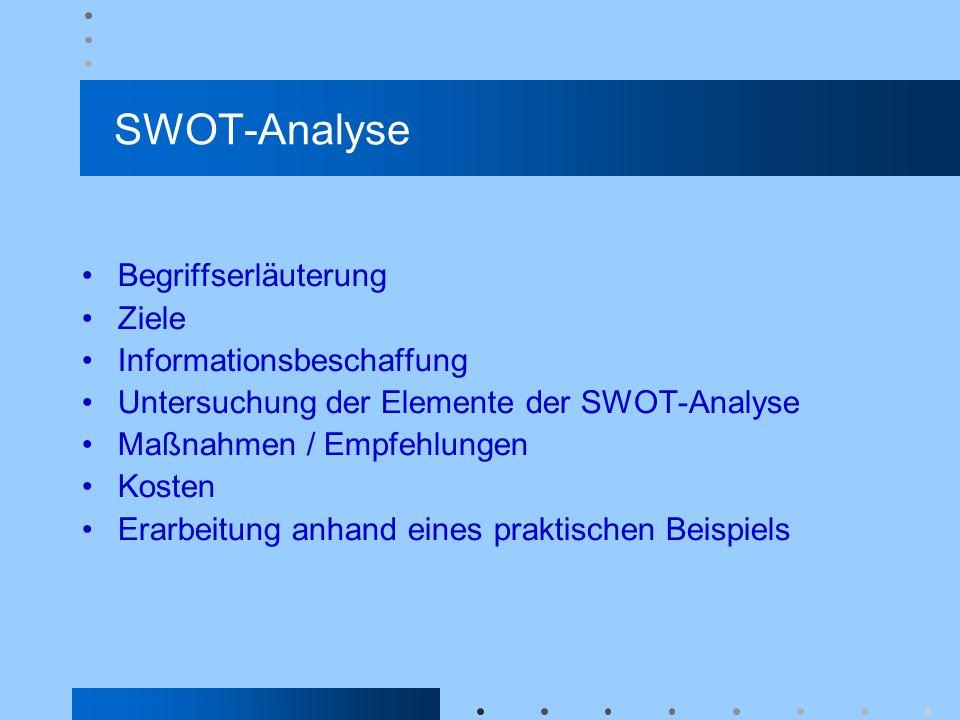 SWOT-Analyse Begriffserläuterung Ziele Informationsbeschaffung