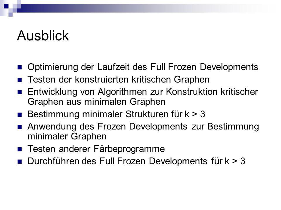 Ausblick Optimierung der Laufzeit des Full Frozen Developments