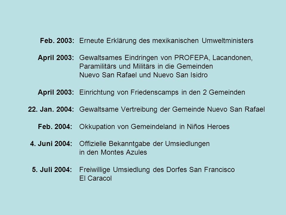 April 2003: Gewaltsames Eindringen von PROFEPA, Lacandonen,