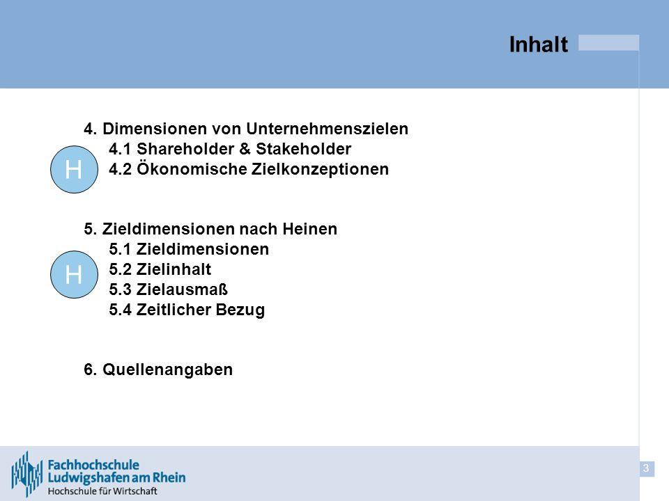 H H Inhalt 4. Dimensionen von Unternehmenszielen