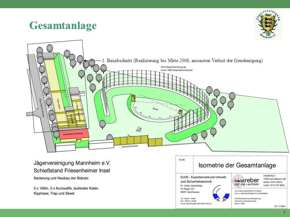Gesamtanlage 1. Bauabschnitt (Realisierung bis Mitte 2008, ansonsten Verlust der Genehmigung)