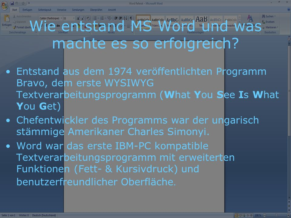 Wie entstand MS Word und was machte es so erfolgreich