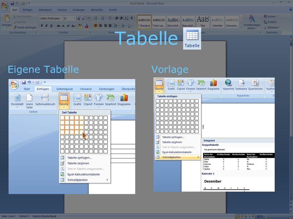 Tabelle Eigene Tabelle Vorlage