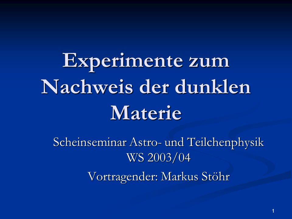 Experimente zum Nachweis der dunklen Materie
