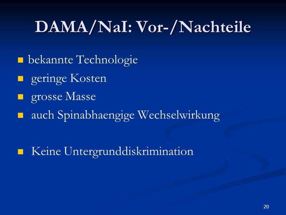 DAMA/NaI: Vor-/Nachteile