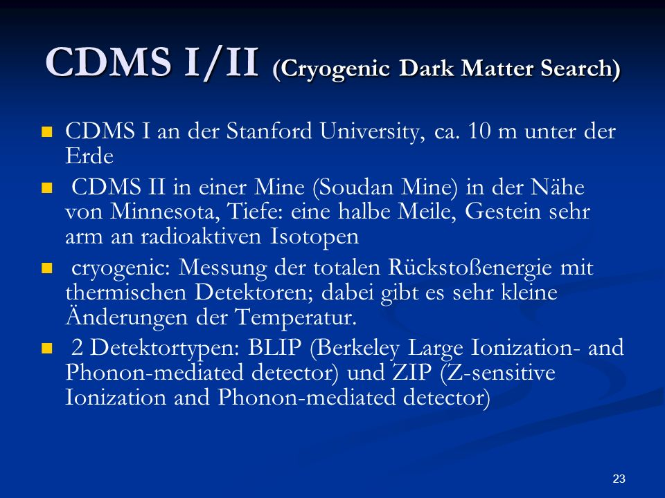 CDMS I/II (Cryogenic Dark Matter Search)