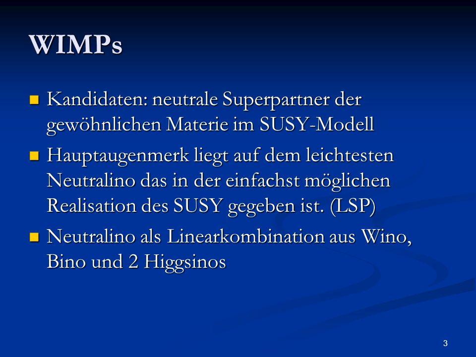 WIMPs Kandidaten: neutrale Superpartner der gewöhnlichen Materie im SUSY-Modell.