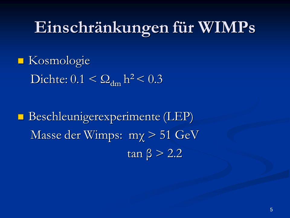 Einschränkungen für WIMPs