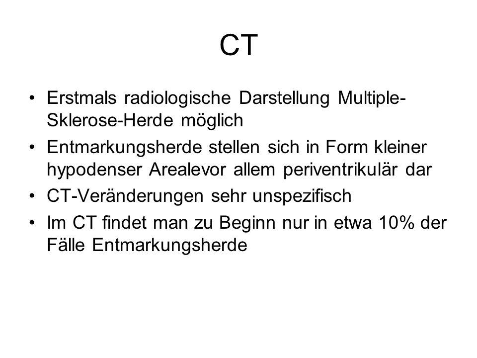 CT Erstmals radiologische Darstellung Multiple-Sklerose-Herde möglich
