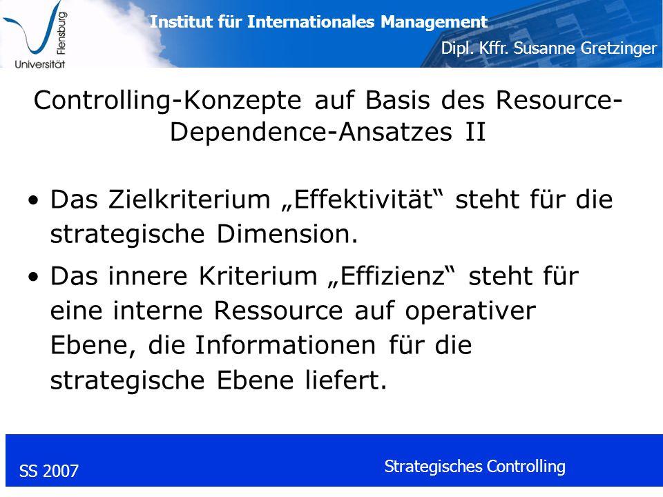 Controlling-Konzepte auf Basis des Resource-Dependence-Ansatzes II