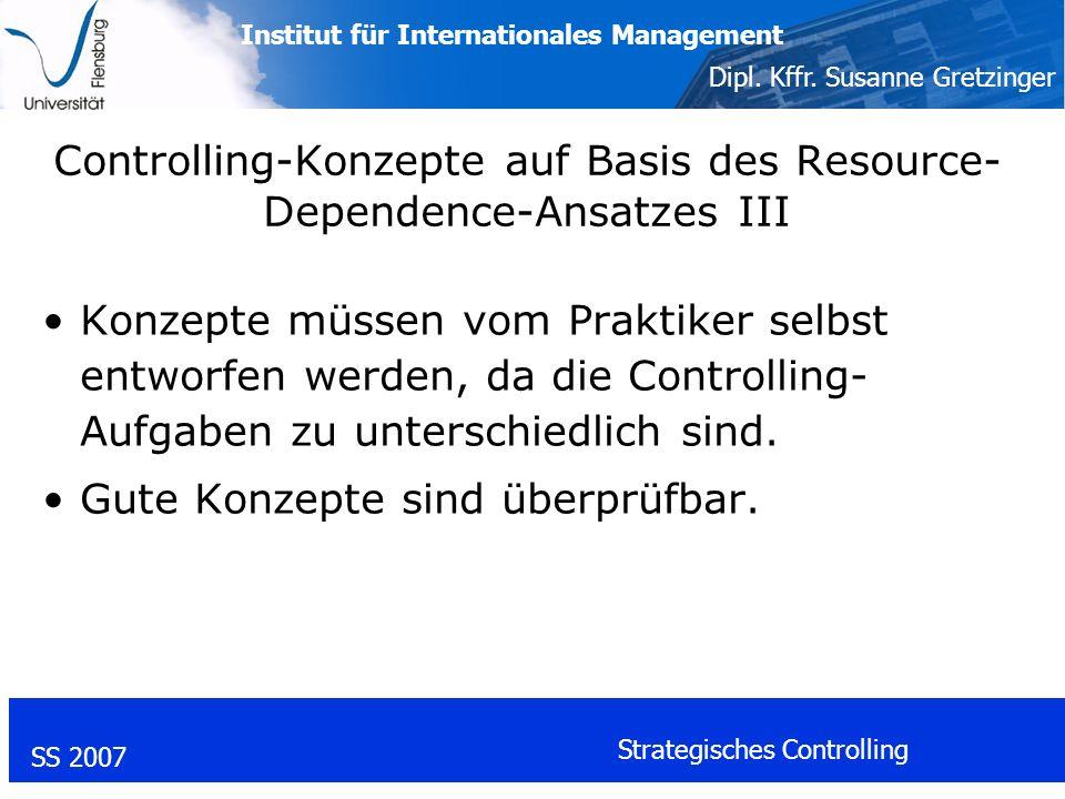 Controlling-Konzepte auf Basis des Resource-Dependence-Ansatzes III