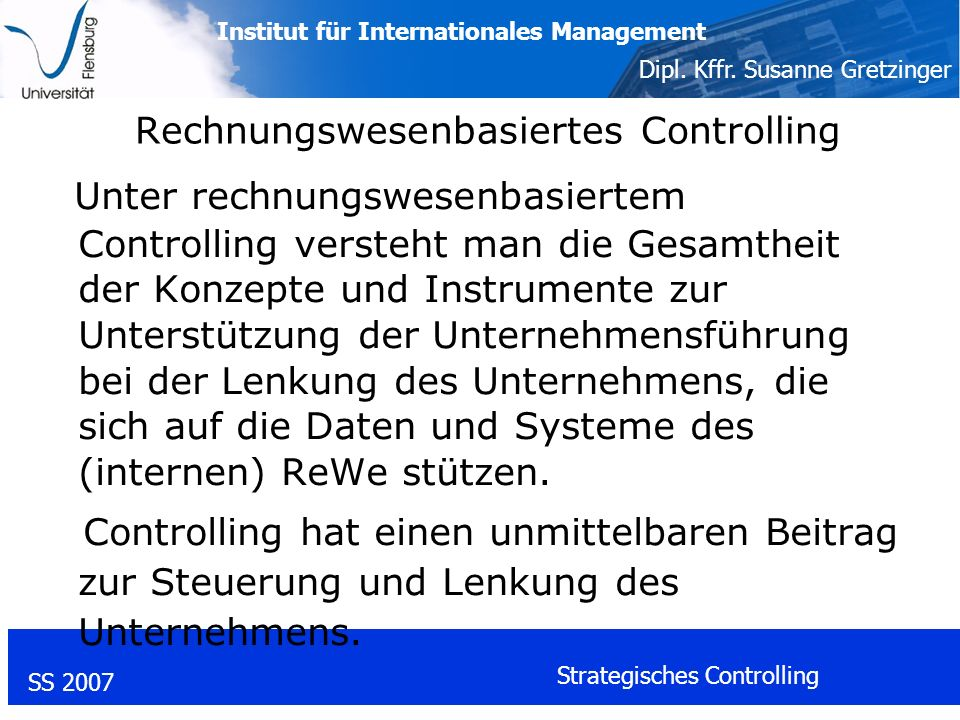 Rechnungswesenbasiertes Controlling