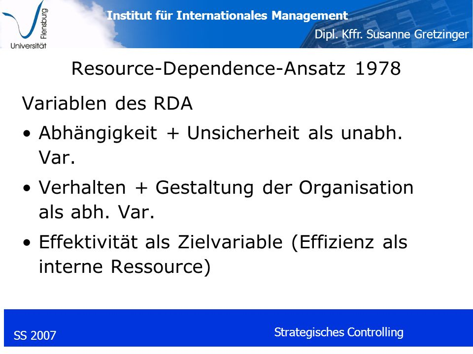 Resource-Dependence-Ansatz 1978