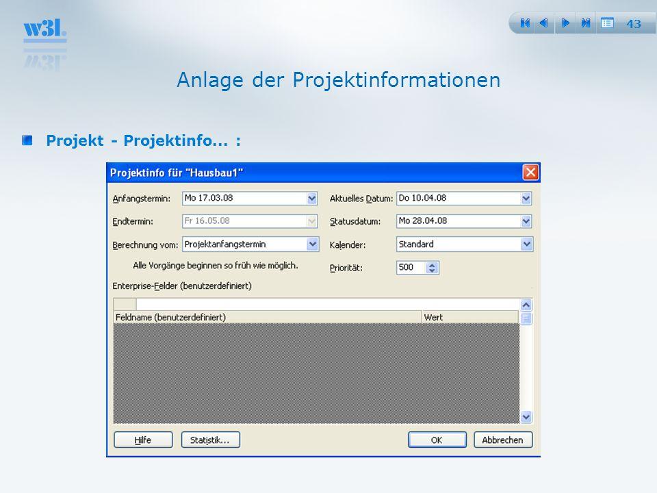 Anlage der Projektinformationen