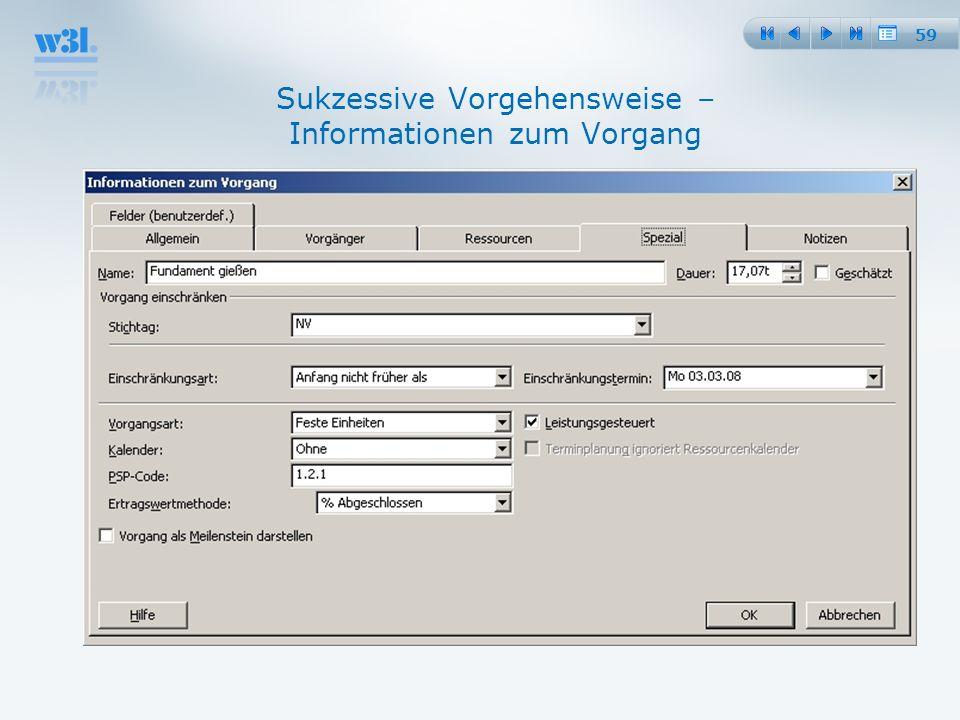 Sukzessive Vorgehensweise – Informationen zum Vorgang