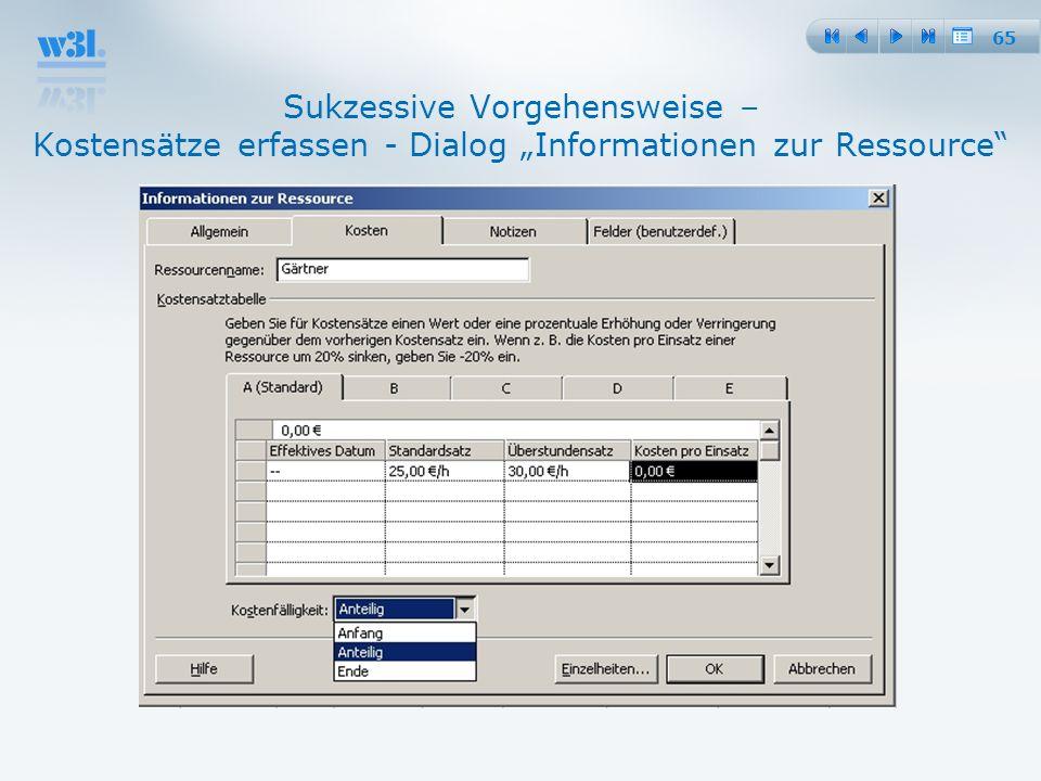 """25.03.2017 Sukzessive Vorgehensweise – Kostensätze erfassen - Dialog """"Informationen zur Ressource"""