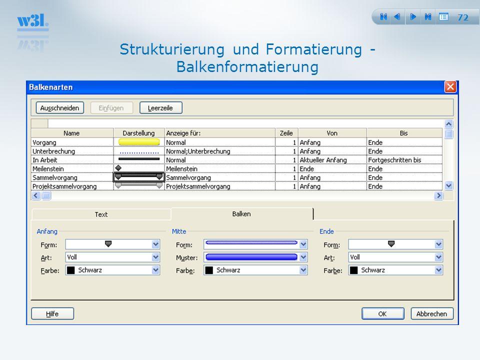 Strukturierung und Formatierung - Balkenformatierung