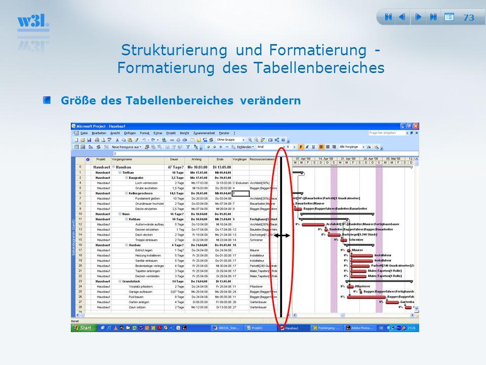 Strukturierung und Formatierung - Formatierung des Tabellenbereiches