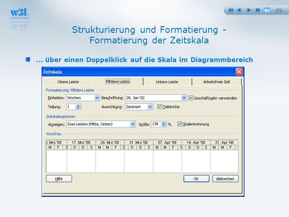 Strukturierung und Formatierung - Formatierung der Zeitskala