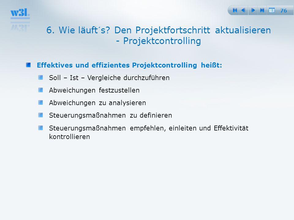 25.03.2017 6. Wie läuft´s Den Projektfortschritt aktualisieren - Projektcontrolling. Effektives und effizientes Projektcontrolling heißt: