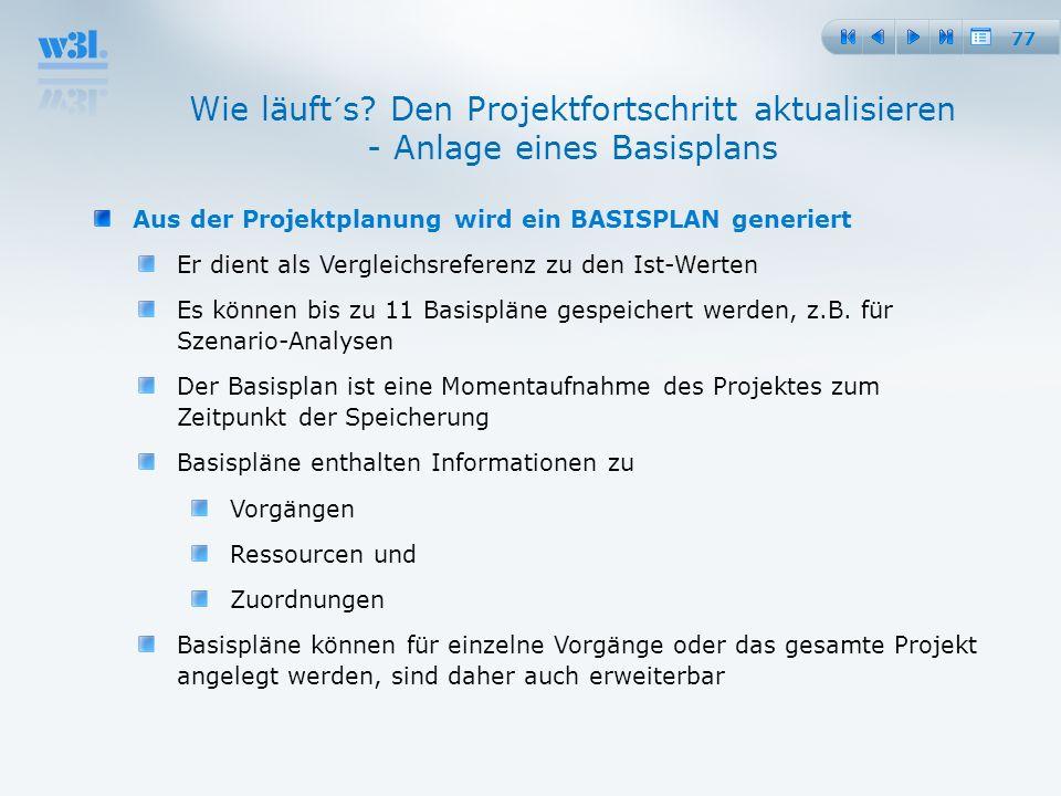 25.03.2017 Wie läuft´s Den Projektfortschritt aktualisieren - Anlage eines Basisplans. Aus der Projektplanung wird ein BASISPLAN generiert.