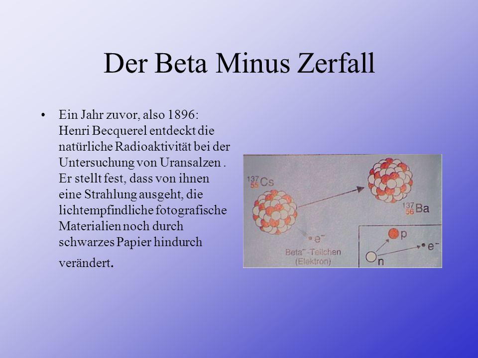 Der Beta Minus Zerfall