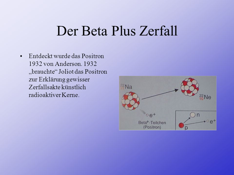 Der Beta Plus Zerfall