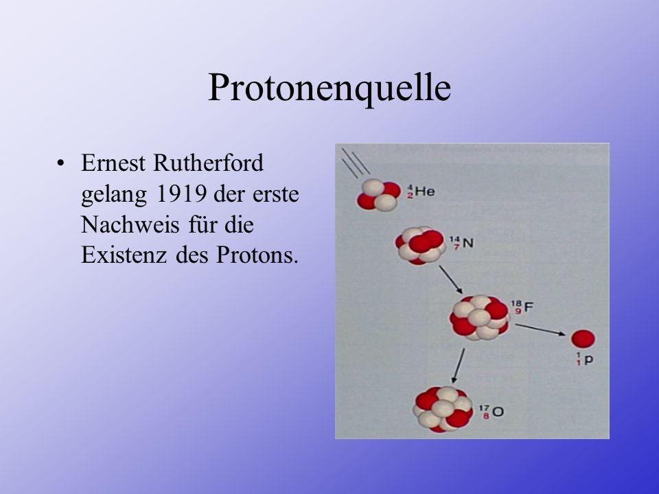 Protonenquelle Ernest Rutherford gelang 1919 der erste Nachweis für die Existenz des Protons.