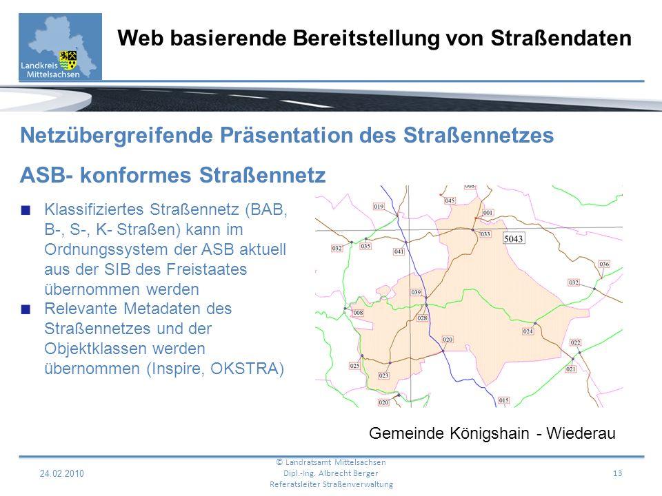 Web basierende Bereitstellung von Straßendaten