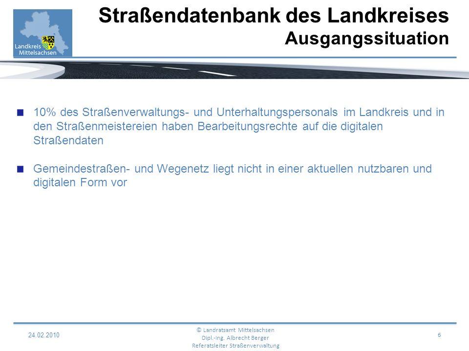 Straßendatenbank des Landkreises Ausgangssituation