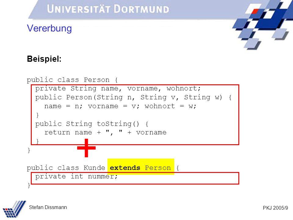 + Vererbung Beispiel: public class Person {