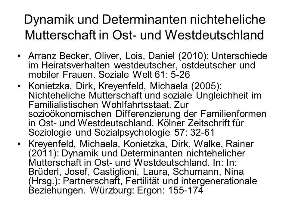 Dynamik und Determinanten nichteheliche Mutterschaft in Ost- und Westdeutschland