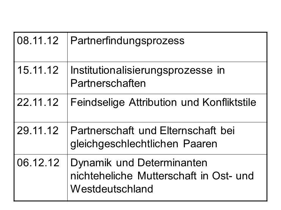 08.11.12 Partnerfindungsprozess. 15.11.12. Institutionalisierungsprozesse in Partnerschaften. 22.11.12.