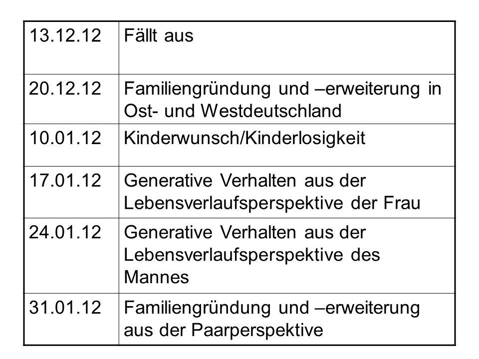 13.12.12 Fällt aus. 20.12.12. Familiengründung und –erweiterung in Ost- und Westdeutschland. 10.01.12.