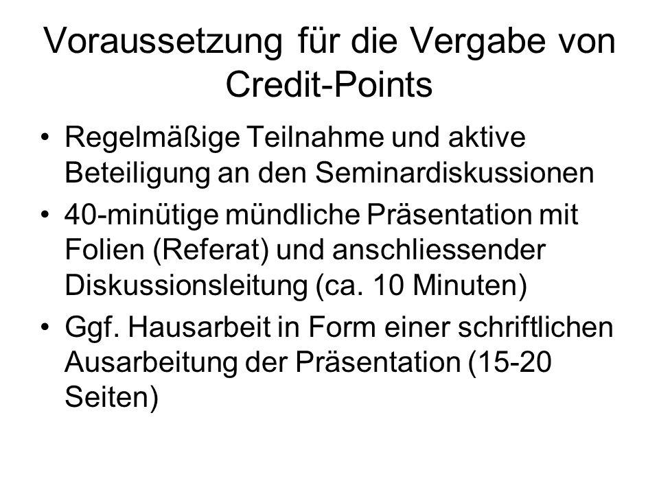 Voraussetzung für die Vergabe von Credit-Points