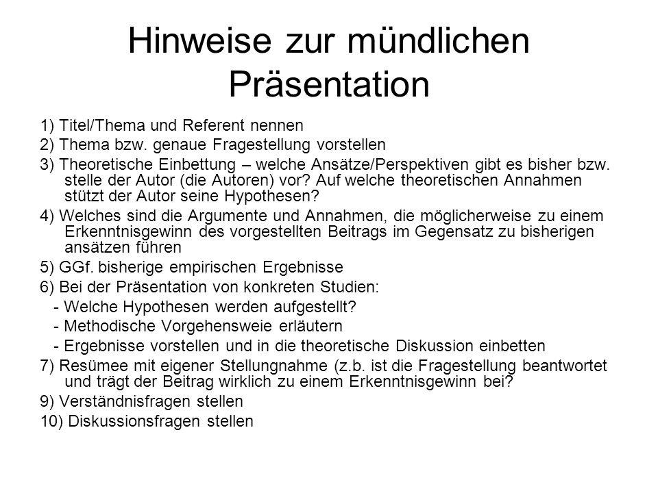 Hinweise zur mündlichen Präsentation