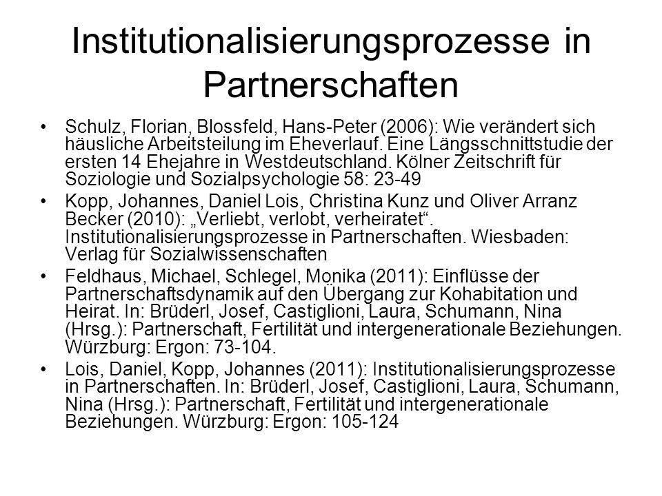 Institutionalisierungsprozesse in Partnerschaften