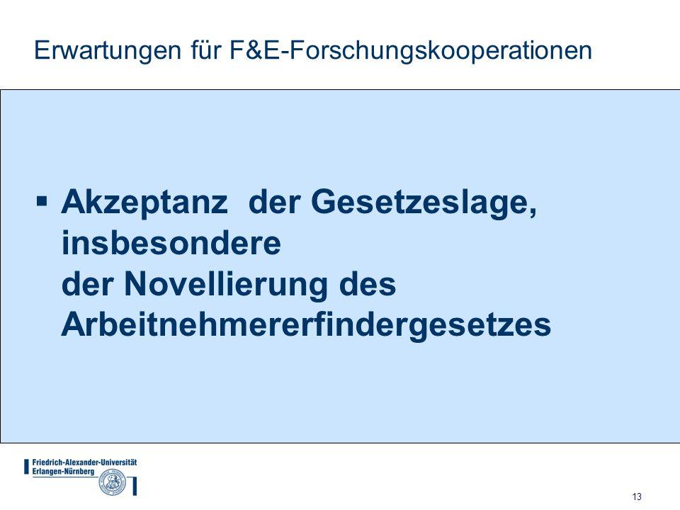 Erwartungen für F&E-Forschungskooperationen