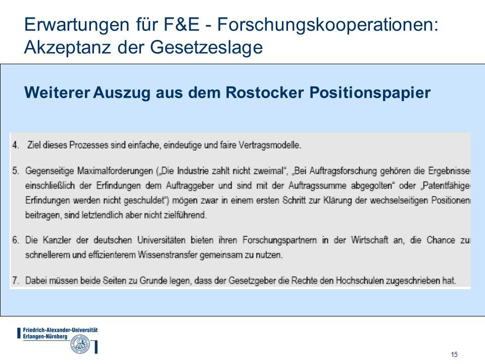 Erwartungen für F&E - Forschungskooperationen: Akzeptanz der Gesetzeslage