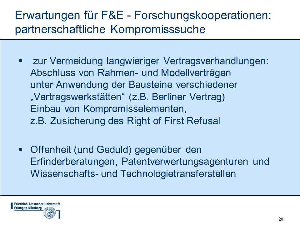 Erwartungen für F&E - Forschungskooperationen: partnerschaftliche Kompromisssuche