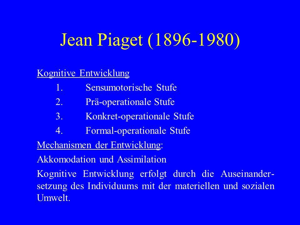 Jean Piaget (1896-1980) Kognitive Entwicklung 1. Sensumotorische Stufe