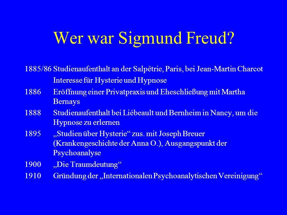 Wer war Sigmund Freud 1885/86 Studienaufenthalt an der Salpêtrie, Paris, bei Jean-Martin Charcot. Interesse für Hysterie und Hypnose.