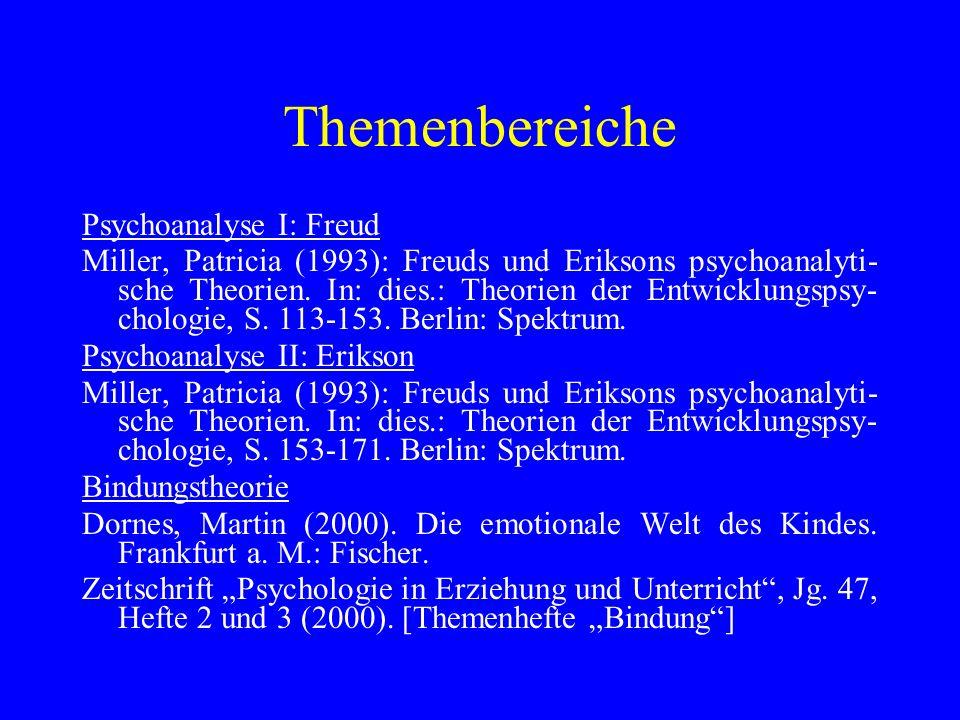 Themenbereiche Psychoanalyse I: Freud