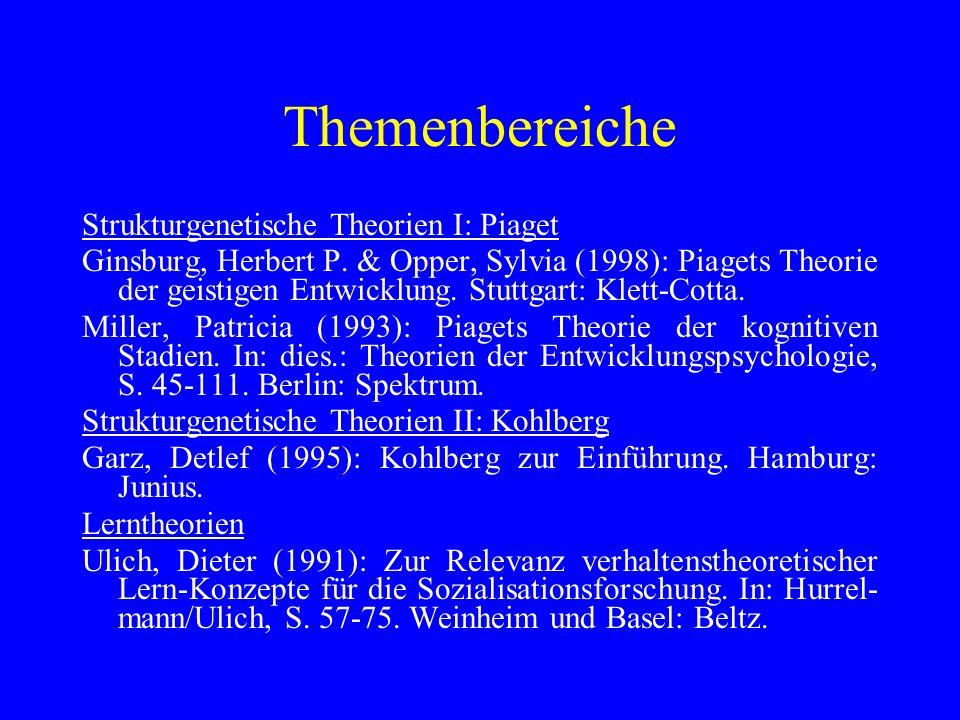 Themenbereiche Strukturgenetische Theorien I: Piaget