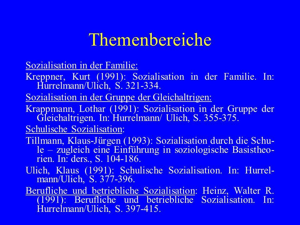 Themenbereiche Sozialisation in der Familie: