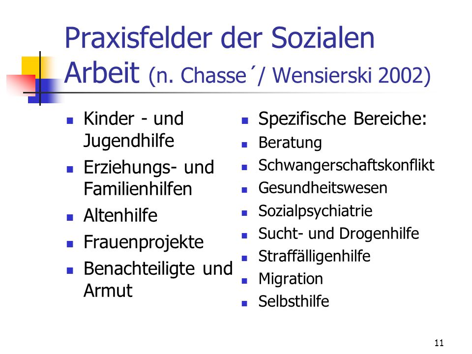 Praxisfelder der Sozialen Arbeit (n. Chasse´/ Wensierski 2002)