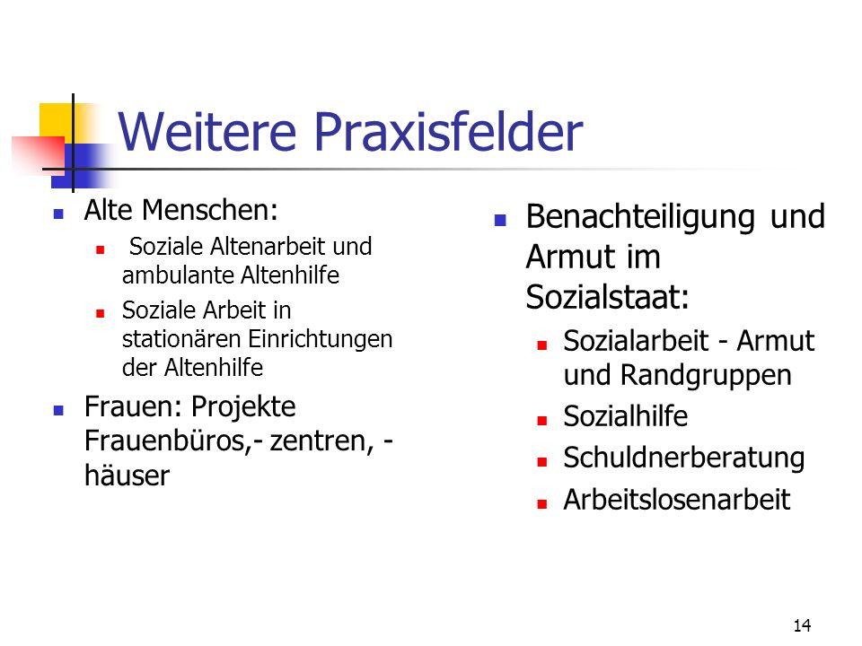 Weitere Praxisfelder Benachteiligung und Armut im Sozialstaat: